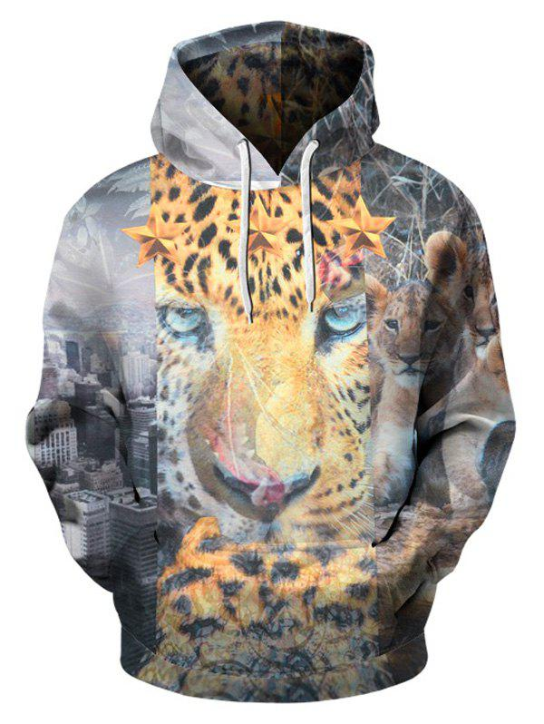 Pullover Leopard Hoodie with Kangaroo Pocket - COLORMIX XL