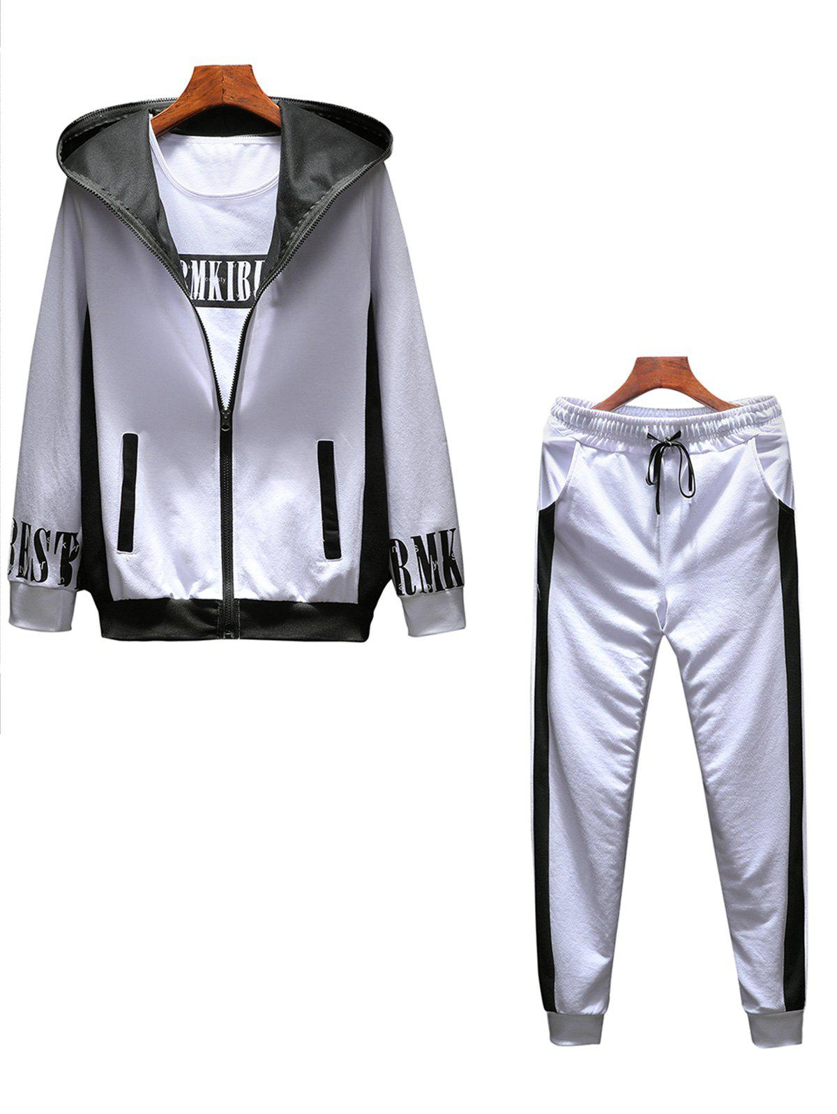 T-shirt Hoodie and Sweatpants Three Piece Suit - WHITE 2XL
