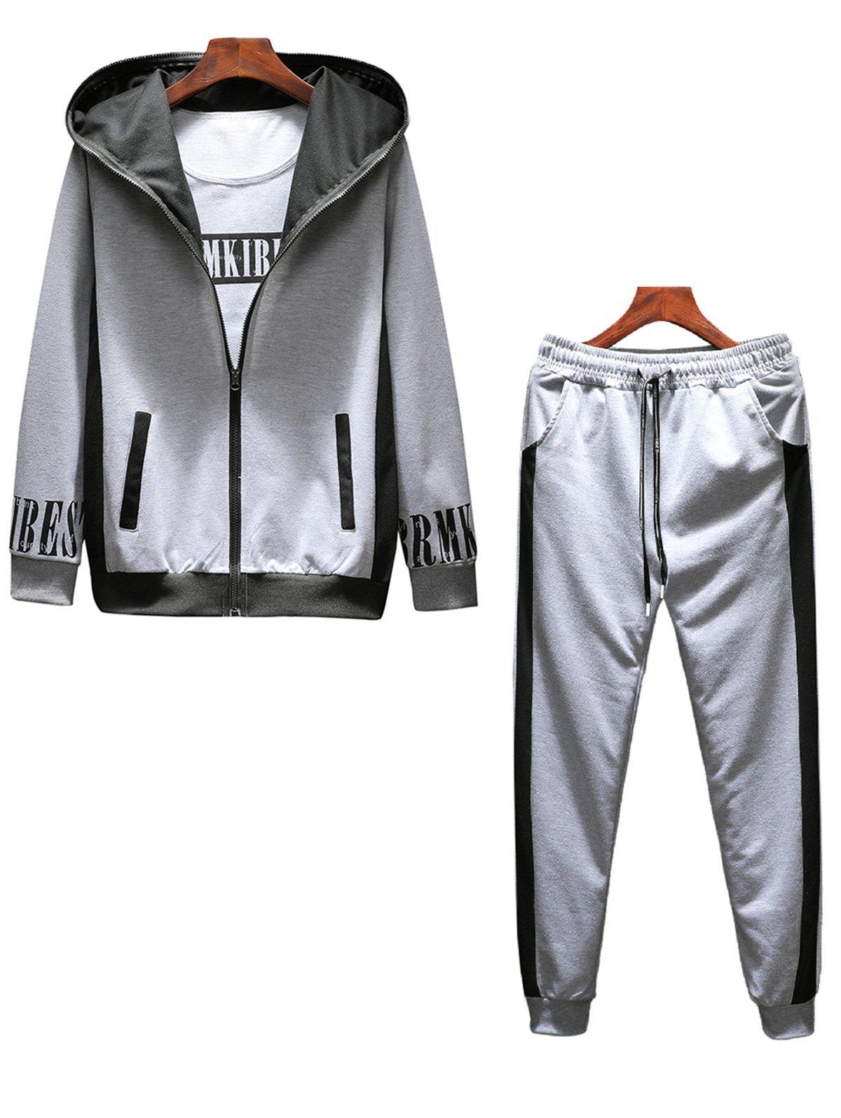 T-shirt Hoodie and Sweatpants Three Piece Suit - GRAY 3XL