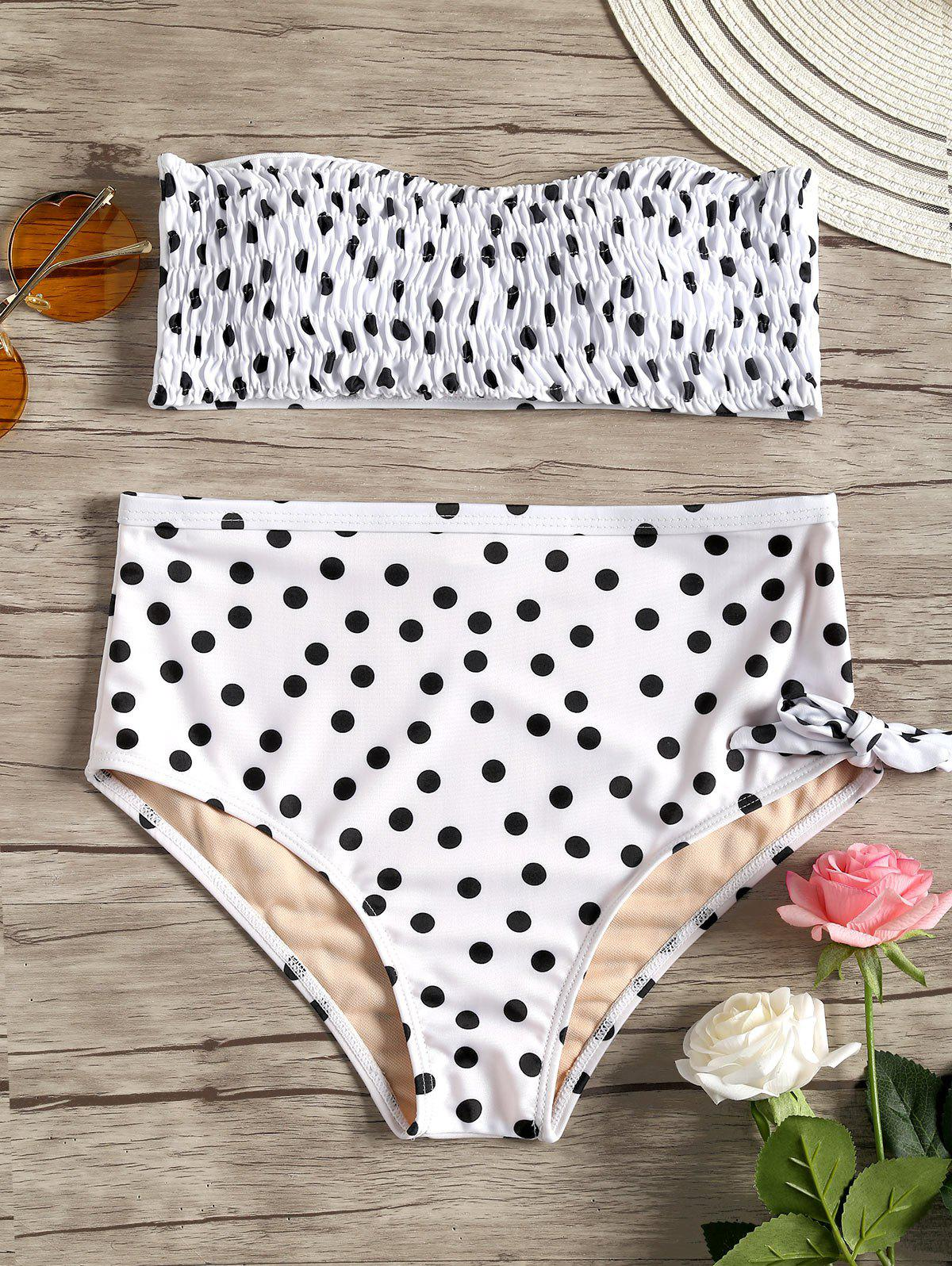 Polka Dot Strapless Shirred Bikini - WHITE/BLACK M