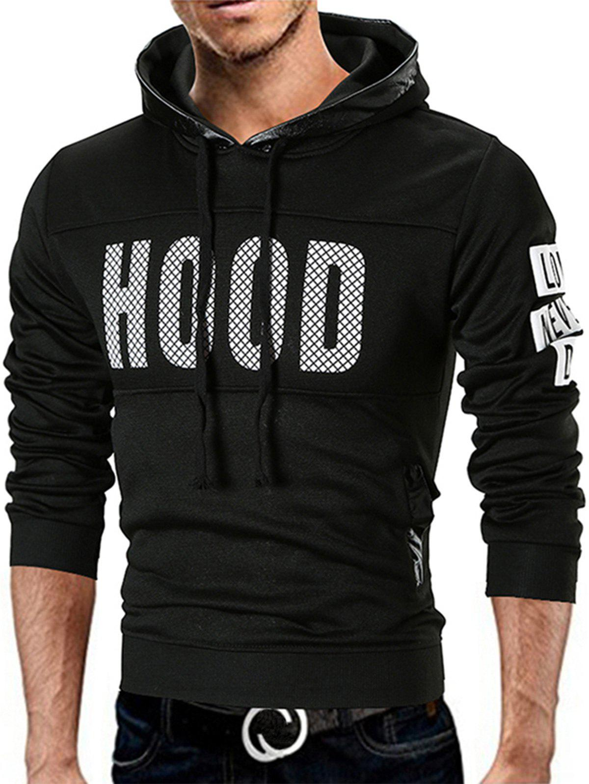 Graphic Fleece Lined Pullover Hoodie - BLACK XL