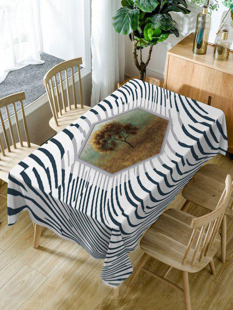 Striped and Tree Print Waterproof Table Cloth - COLORMIX W54 INCH * L72 INCH