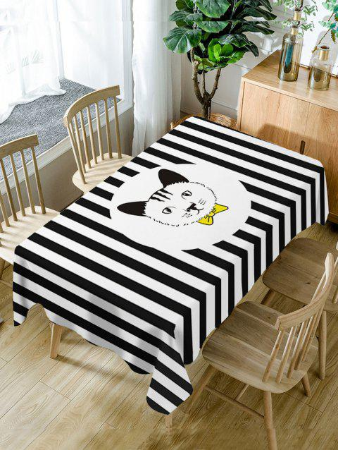 Stripe and Cat Print Waterproof Table Cloth - BLACK WHITE W54 INCH * L72 INCH