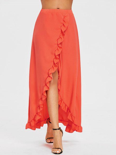 Ruffle Slit Maxi Skirt - ORANGE RED S