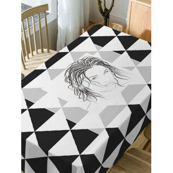 Printed Fabric Waterproof Dining Table Cloth - BLACK WHITE W60 INCH * L84 INCH