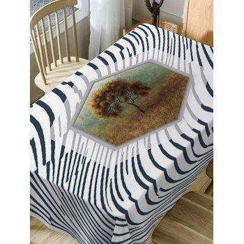 Striped and Tree Print Waterproof Table Cloth - COLORMIX W54 INCH * L54 INCH