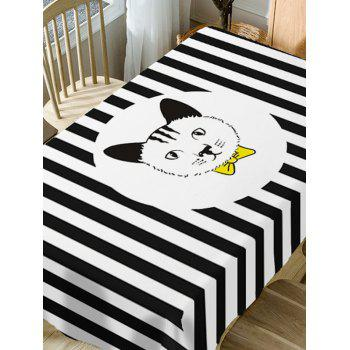Stripe and Cat Print Waterproof Table Cloth - BLACK WHITE W54 INCH * L54 INCH