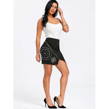 Flower Rivets High Waist Mini Skirt - BLACK S