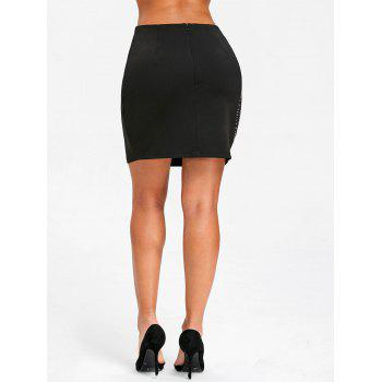 Flower Rivets High Waist Mini Skirt - BLACK M