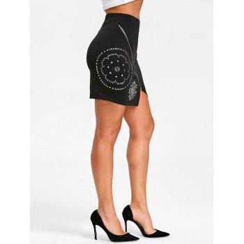 Flower Rivets High Waist Mini Skirt - BLACK 2XL