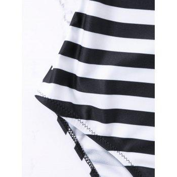 Lattice Strip Back One Piece Stripe Swimwear - BLACK STRIPE XL