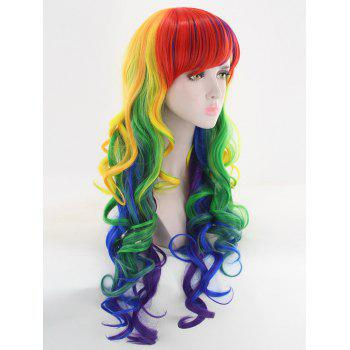 Long Side Bang Loose Wave Colormix Cosplay Synthetic Wig - COLORFUL