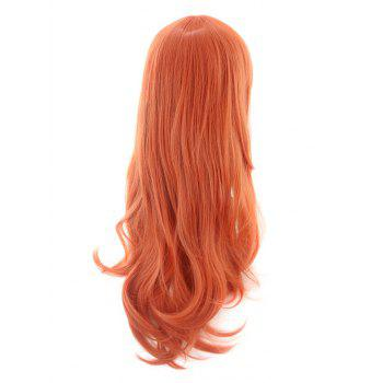 Long Oblique Bang Wavy Synthetic Cosplay Wig - ORANGE