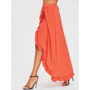 Ruffle Slit Maxi Skirt - ORANGE RED L