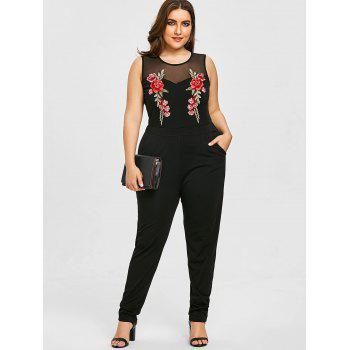 Plus Size Mesh Yoke Embroidery Sleeveless Jumpsuit - BLACK 3XL