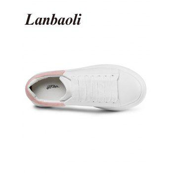 Lanbaoli Sport Contrasting Color Sneakers - WHITE / PINK 37
