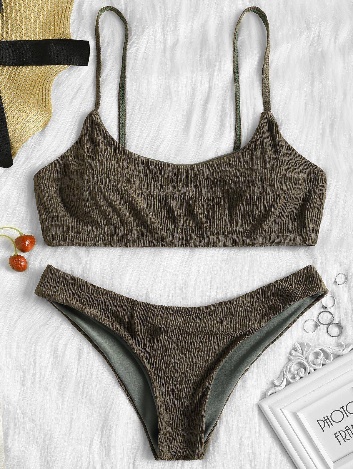 Shirred Low Waisted Bikini Set - ARMY GREEN S