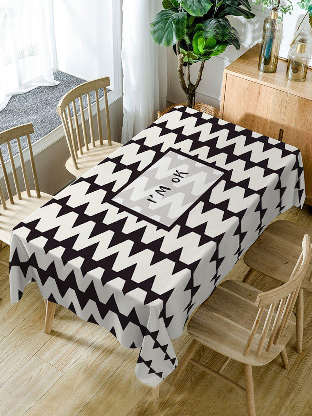 Zig Zag Print Waterproof Table Cloth - BLACK WHITE W54 INCH * L54 INCH