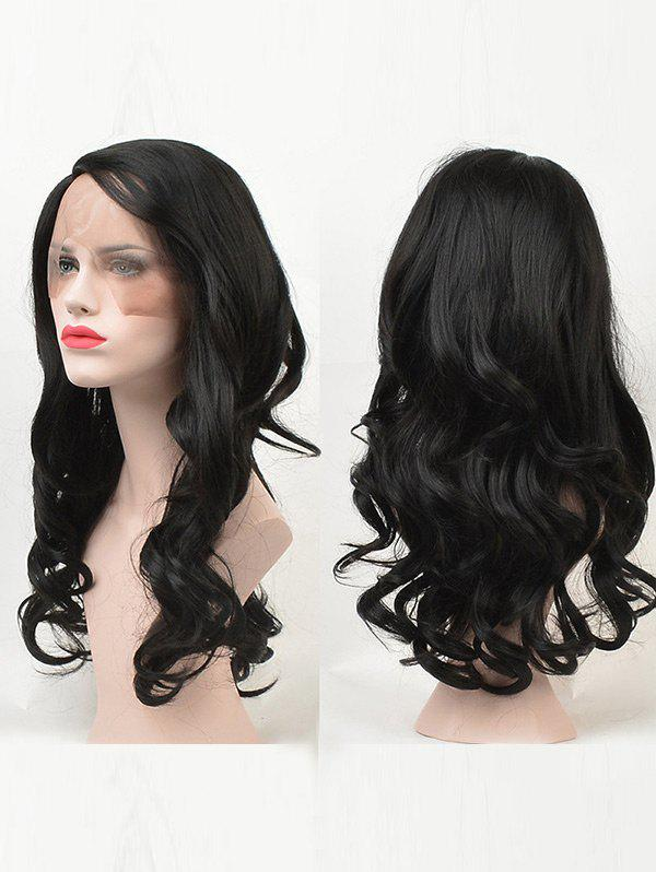Long Side Parting Wavy Synthetic Fiber Lace Front Wig - BLACK