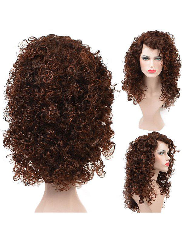 Long Colormix Side Bang Fluffy Kinky Curly Lace Front Synthetic Wig - COLORMIX