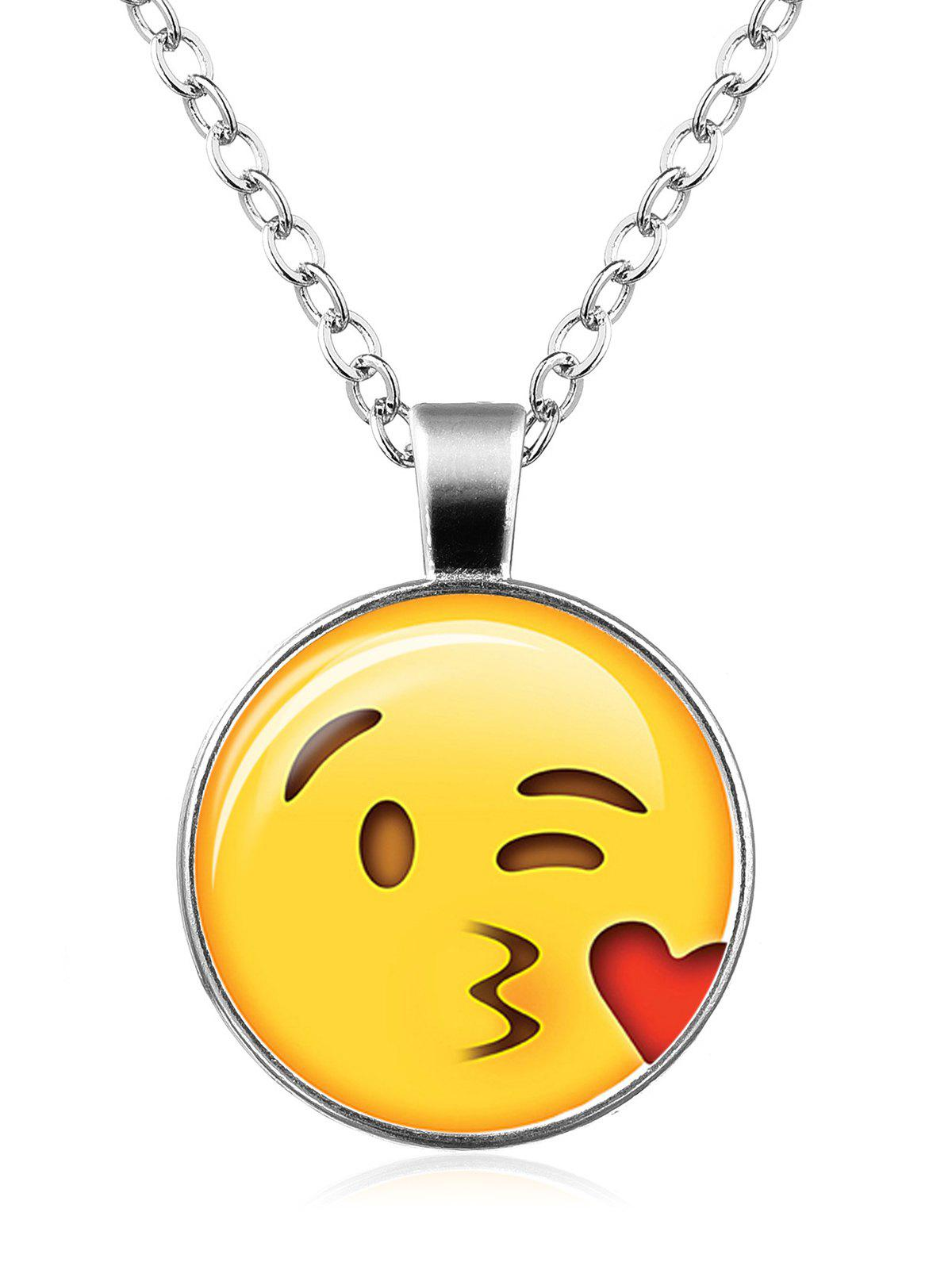 Funny Emoji Face Circle Pendant Necklace - PATTERN D