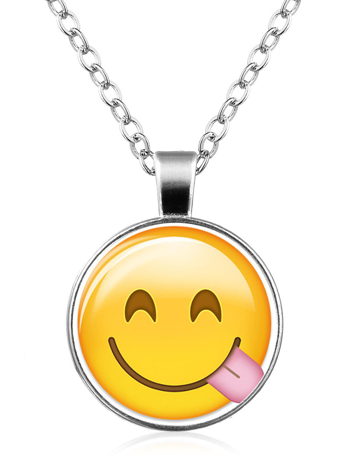 Funny Emoji Face Circle Pendant Necklace - PATTERN G
