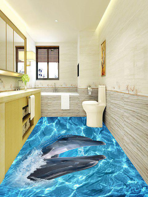 3D Oceanic Dolphin Pattern Home Decor Art Floor Stickers - BLUE 5PCS:17*59 INCH