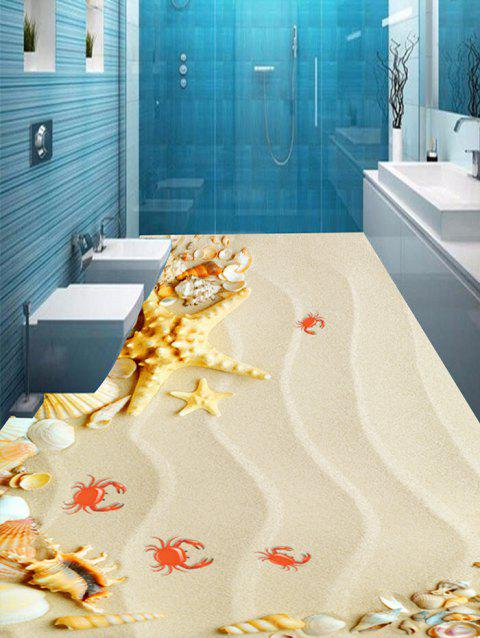 Starfish Conch Crab Sand Print Removable Floor Decals - LIGHT BROWN 7PCS:16*71 INCH