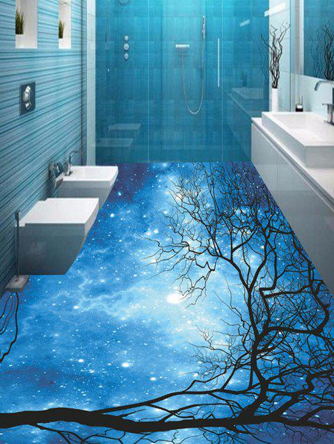 Galaxy Tree Branches Print Floor Stickers - BLUE 5PCS:17*59 INCH