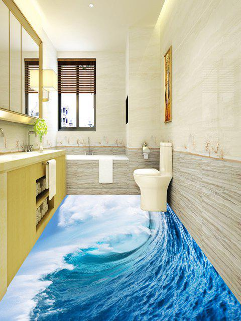 Ocean Wave Print Decorative Floor Stickers - BLUE 5PCS:17*59 INCH