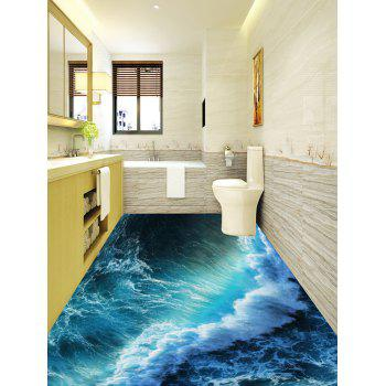 Removable Ocean Wave Print PVC Floor Stickers - LAKE GREEN 5PCS:17*59 INCH