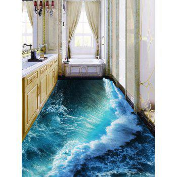Removable Ocean Wave Print PVC Floor Stickers - LAKE GREEN 5PCS:16*39 INCH
