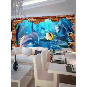 3D Underwater World Dolphin Floor Stickers - COLORMIX 7PCS:16*71 INCH