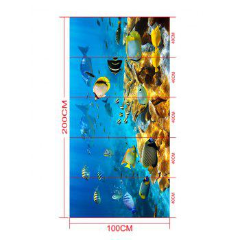 Removable Fish and Coral Reef Print Floor Stickers - COLORMIX 5PCS:16*39 INCH