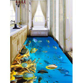 Removable Fish and Coral Reef Print Floor Stickers - COLORMIX 7PCS:16*71 INCH