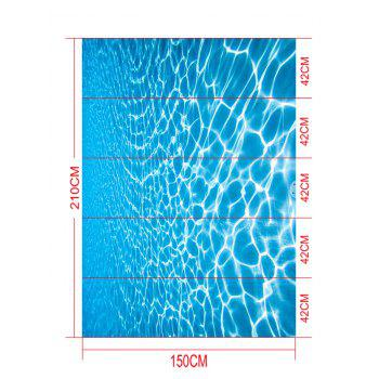 Removable Crystal Clear Sea Water Print Floor Decals - BLUE 5PCS:17*59 INCH