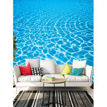 Removable Crystal Clear Sea Water Print Floor Decals - BLUE 6PCS:17*63 INCH