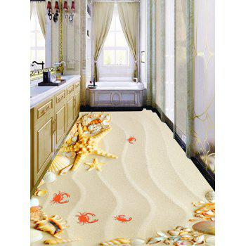 Starfish Conch Crab Sand Print Removable Floor Decals - LIGHT BROWN 5PCS:17*59 INCH