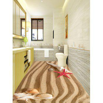 Striped Seabeach Pattern Removable Floor Stickers - LIGHT BROWN 5PCS:17*59 INCH