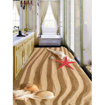 Striped Seabeach Pattern Removable Floor Stickers - LIGHT BROWN 6PCS:17*63 INCH