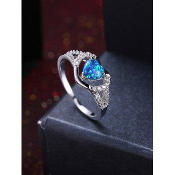 Rhinestoned Artificial Aquamarine Heart Finger Ring - BLUE 8