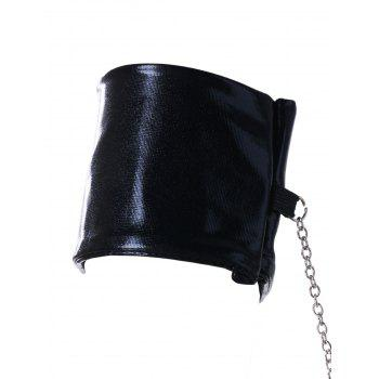 Mesh PU Leather Teddy and Handcuffs - BLACK ONE SIZE