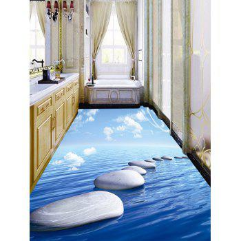 Ocean Pebble Sky Print Floor Stickers - BLUE 6PCS:17*63 INCH