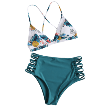 Pineapple Print Strappy High Rise Bikini Set - PEACOCK BLUE L