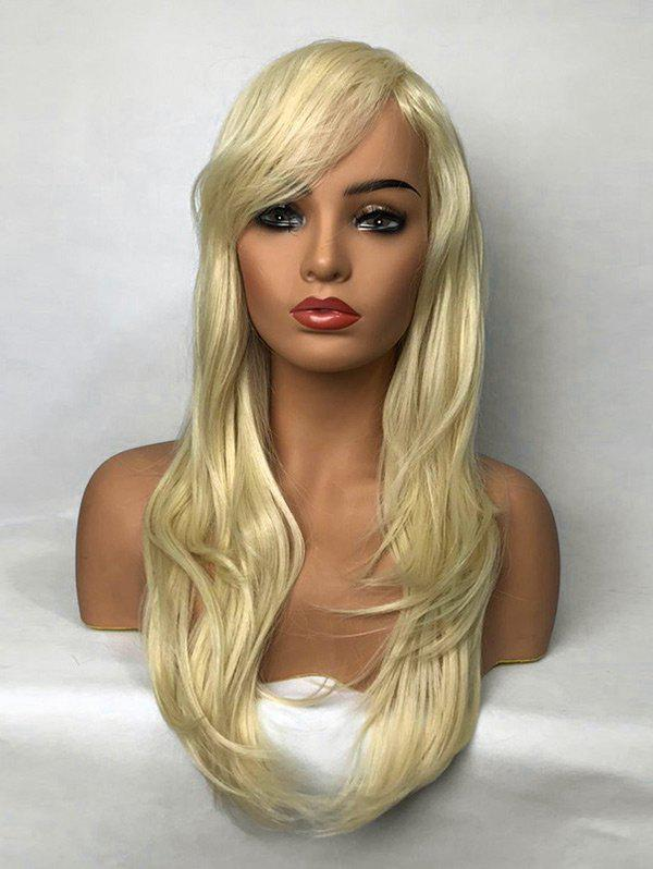 Long Oblique Bang Straight Layered Synthetic Wig - VENETIAN GOLD