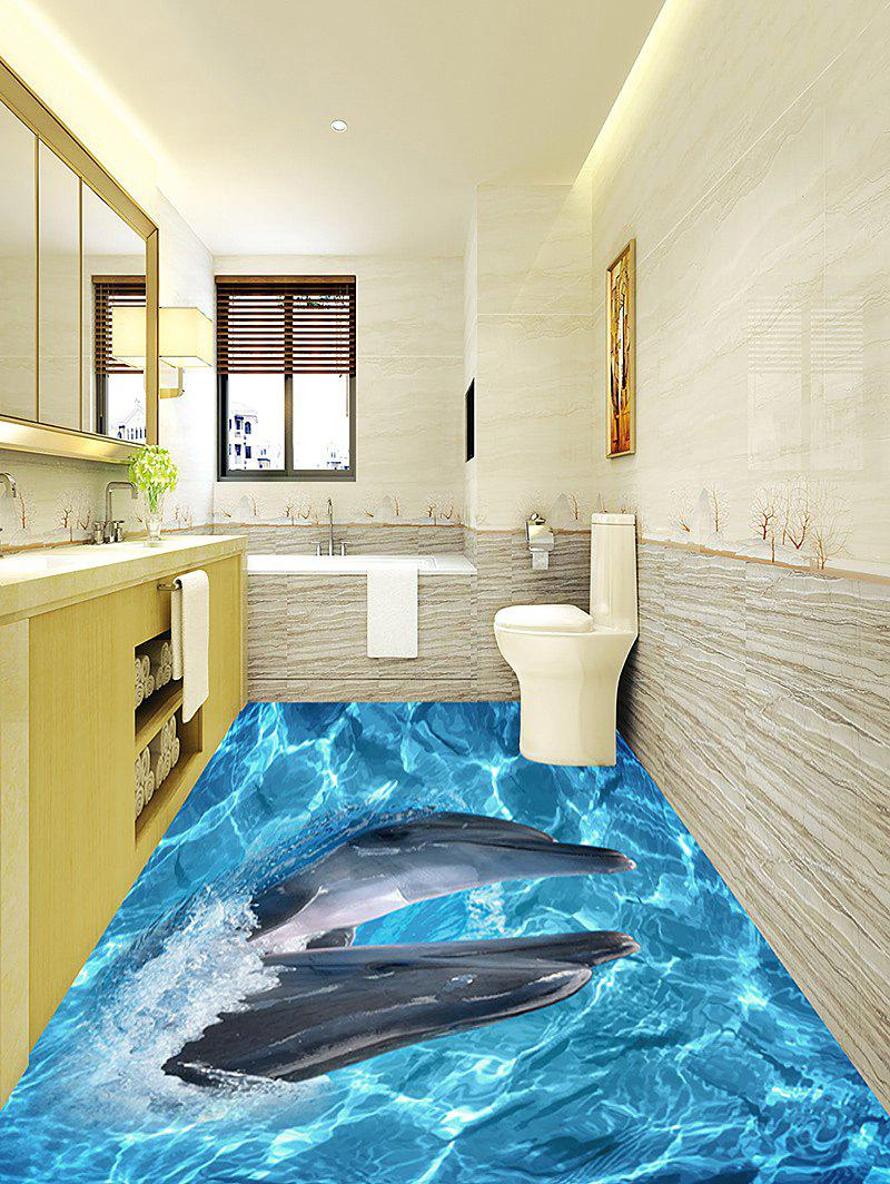 3D Oceanic Dolphin Pattern Home Decor Art Floor Stickers stylish dolphin pattern 3d wall sticker for home decor
