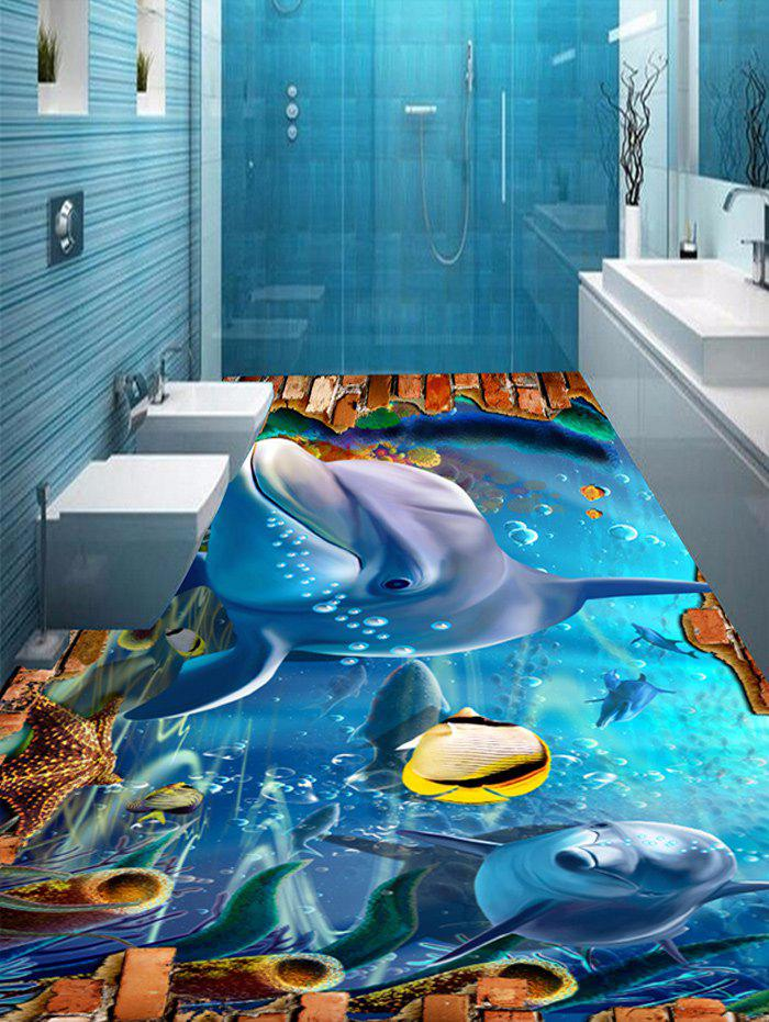 3D Underwater World Dolphin Floor Stickers - COLORMIX 5PCS:17*59 INCH