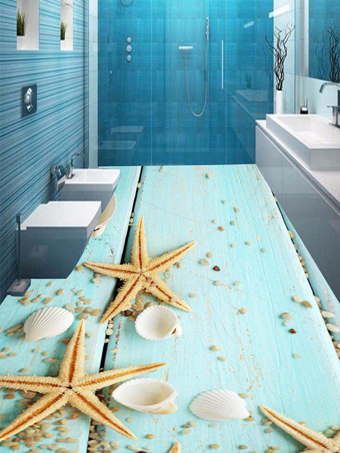 Wood Plank Starfish Print Floor Stickers - CLOVER 5PCS:17*59 INCH