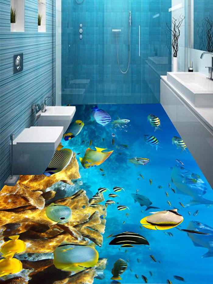 Removable Fish and Coral Reef Print Floor Stickers - COLORMIX 6PCS:17*63 INCH