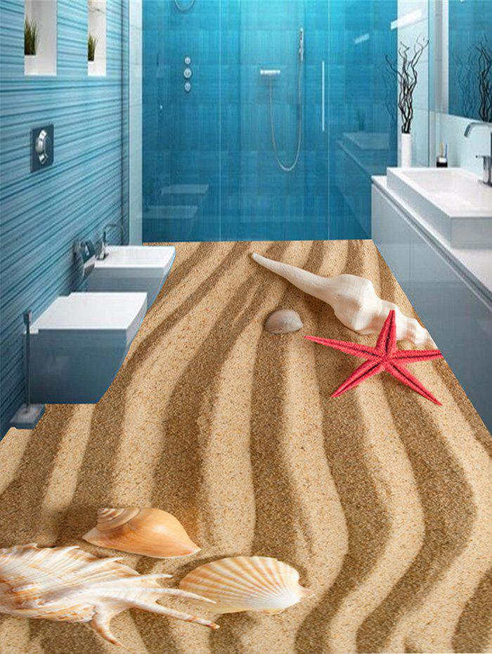 Striped Seabeach Pattern Removable Floor Stickers - LIGHT BROWN 7PCS:16*71 INCH